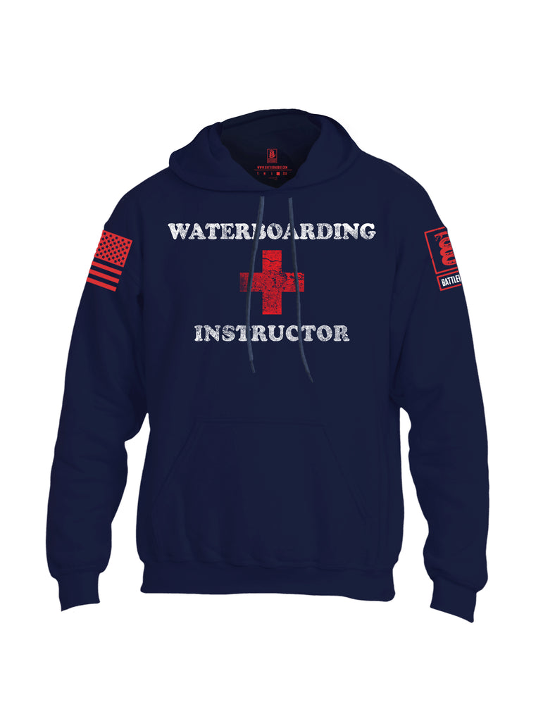 Battleraddle Waterboarding Instructor Red Sleeve Print Mens Blended Hoodie With Pockets-Navy Blue