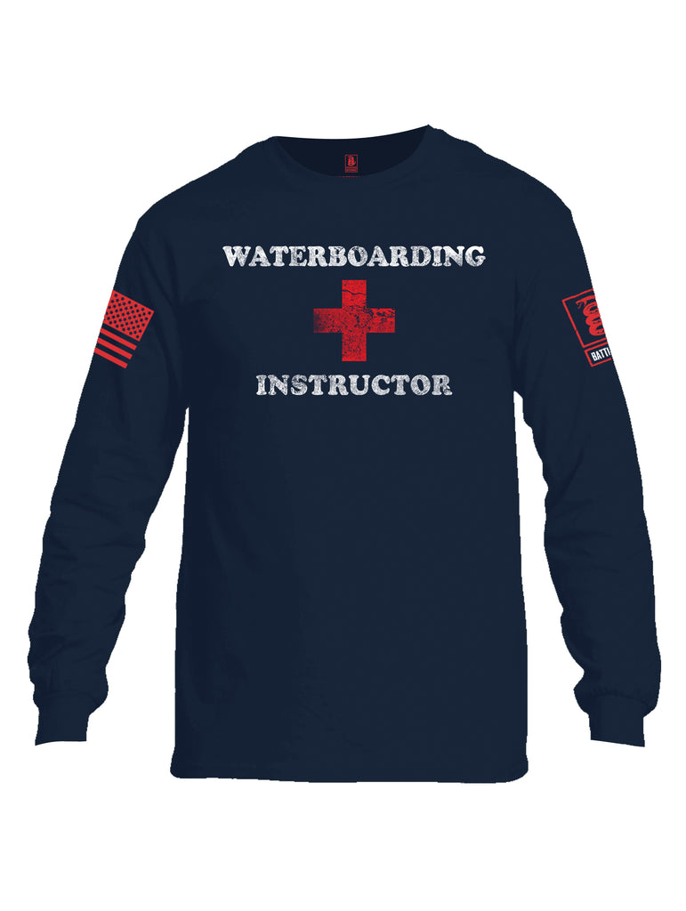 Battleraddle Waterboarding Instructor Red Sleeve Print Mens Cotton Long Sleeve Crew Neck T Shirt-Navy Blue