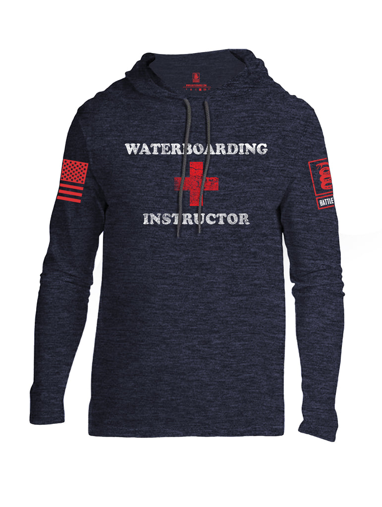 Battleraddle Waterboarding Instructor Red Sleeve Print Mens Thin Cotton Lightweight Hoodie-Navy Blue