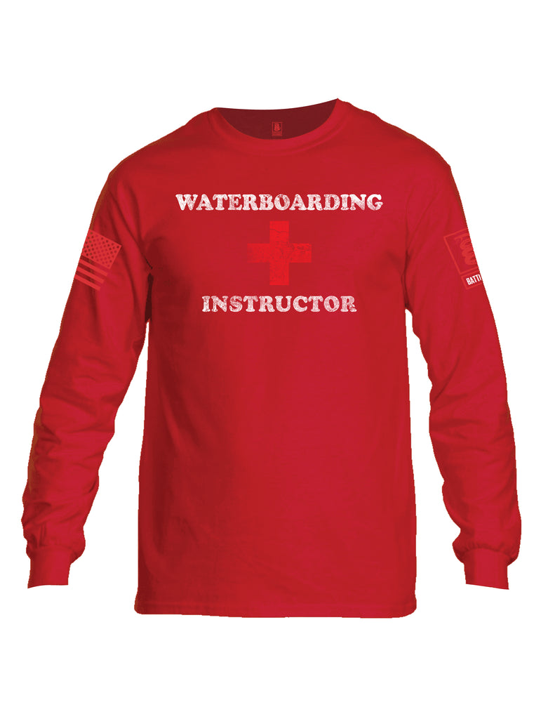Battleraddle Waterboarding Instructor Red Sleeve Print Mens Cotton Long Sleeve Crew Neck T Shirt-Red