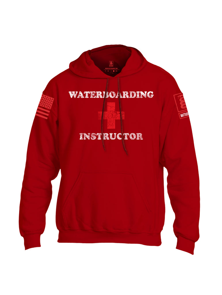 Battleraddle Waterboarding Instructor Red Sleeve Print Mens Blended Hoodie With Pockets-Red
