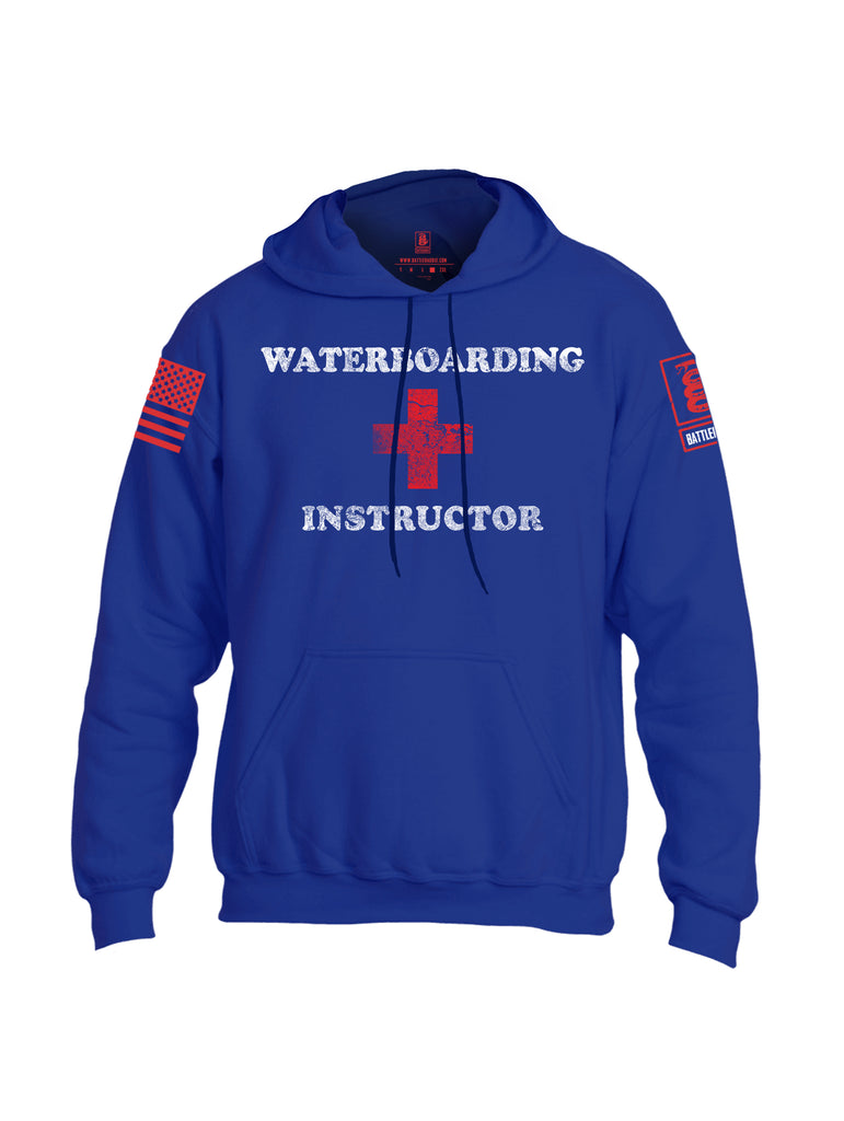 Battleraddle Waterboarding Instructor Red Sleeve Print Mens Blended Hoodie With Pockets-Royal Blue