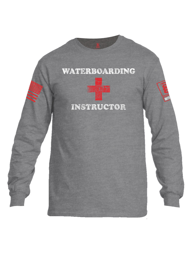 Battleraddle Waterboarding Instructor Red Sleeve Print Mens Cotton Long Sleeve Crew Neck T Shirt-Sports Grey