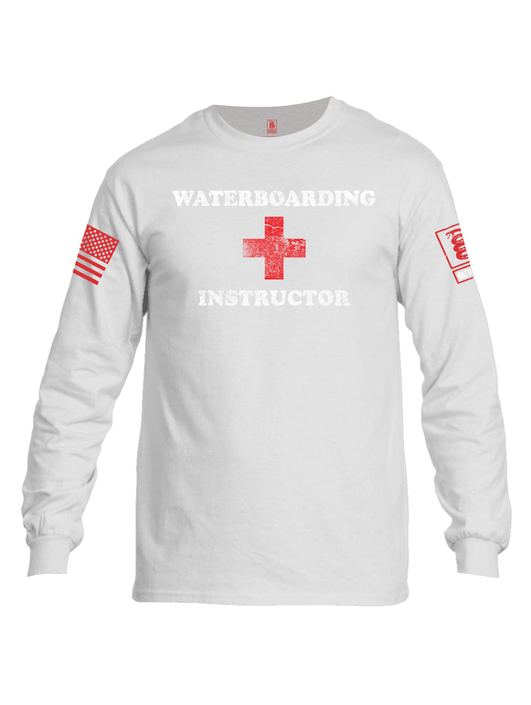 Battleraddle Waterboarding Instructor Red Sleeve Print Mens Cotton Long Sleeve Crew Neck T Shirt-White