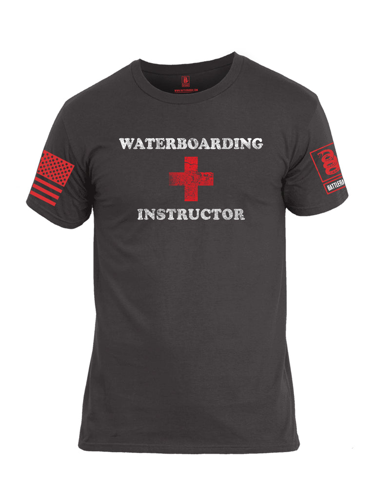 Battleraddle Waterboarding Instructor Red Sleeve Print Mens Cotton Crew Neck T Shirt-Charcoal