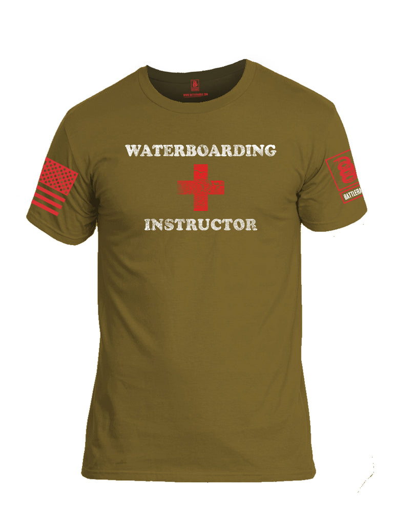 Battleraddle Waterboarding Instructor Red Sleeve Print Mens Cotton Crew Neck T Shirt-Coyote Tan