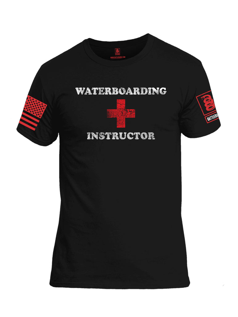 Battleraddle Waterboarding Instructor Red Sleeve Print Mens Cotton Crew Neck T Shirt-Black