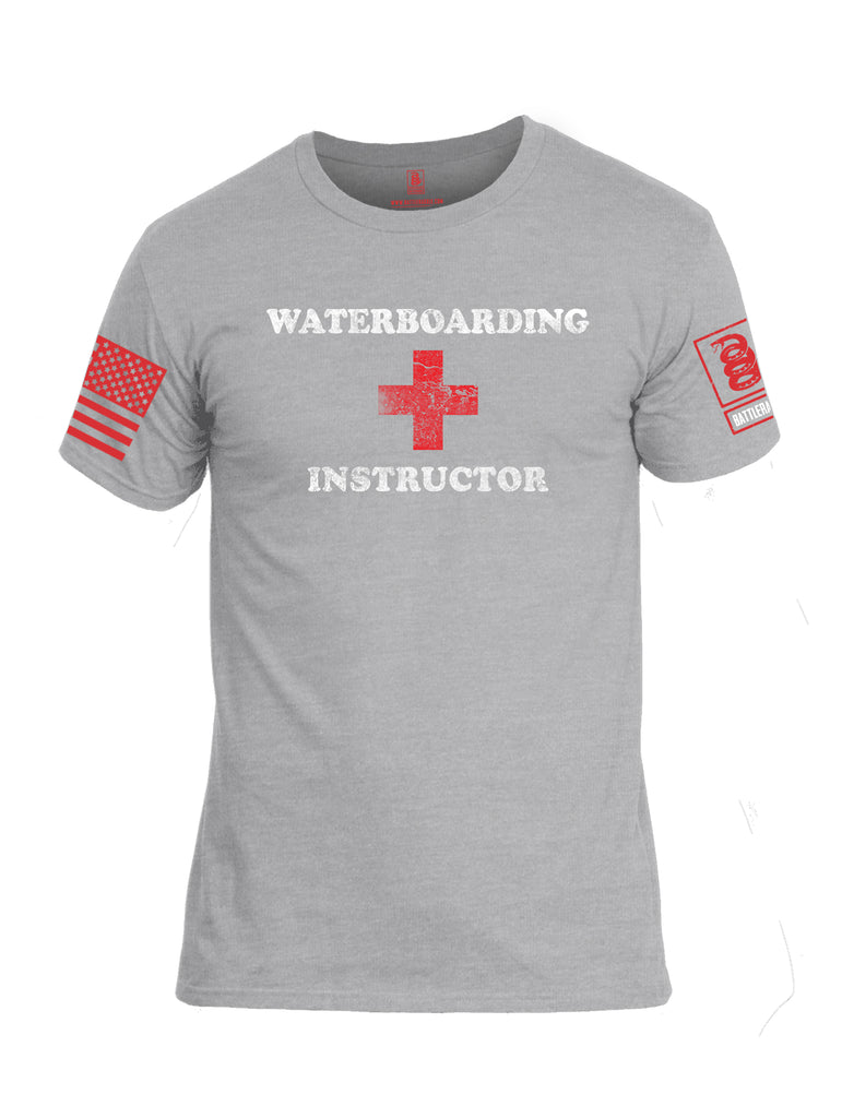 Battleraddle Waterboarding Instructor Red Sleeve Print Mens Cotton Crew Neck T Shirt-Heather Grey