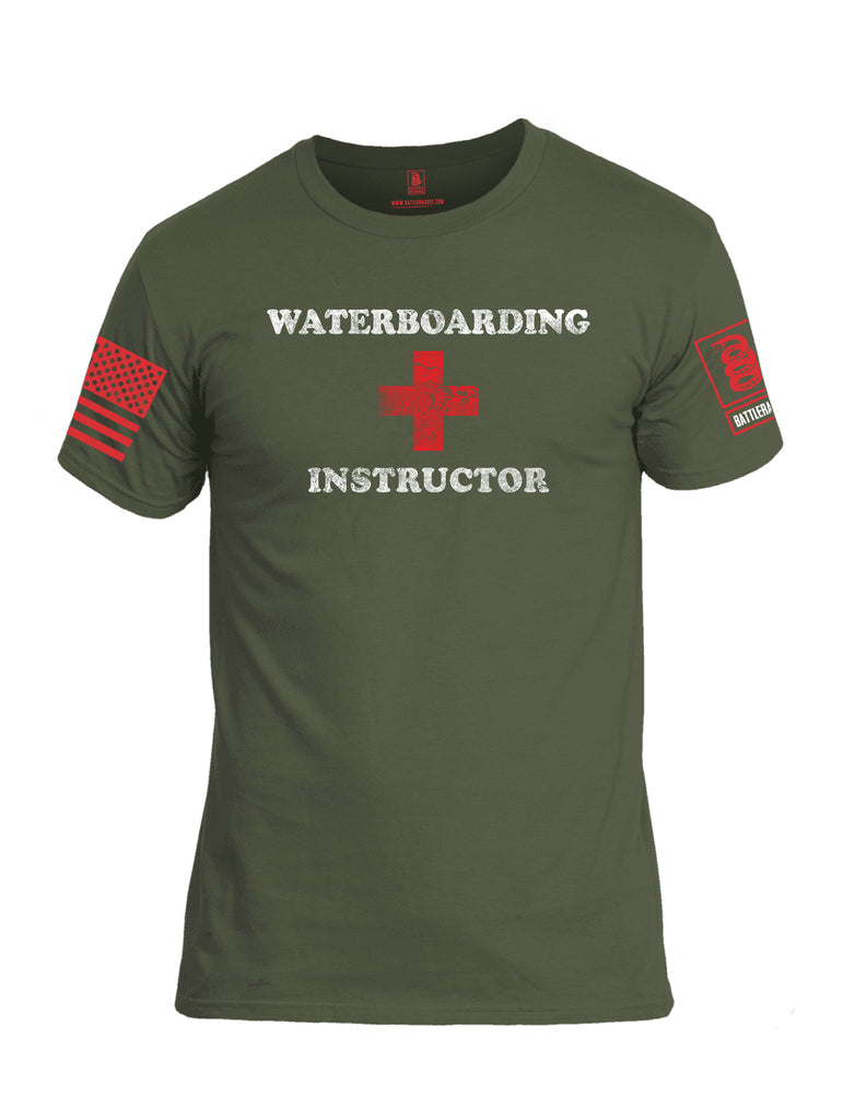 Battleraddle Waterboarding Instructor Red Sleeve Print Mens Cotton Crew Neck T Shirt-Military Green