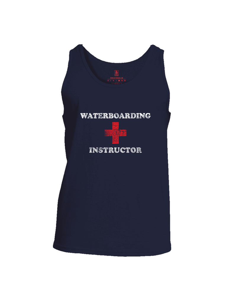 Battleraddle Waterboarding Instructor Mens Cotton Tank Top-Navy Blue