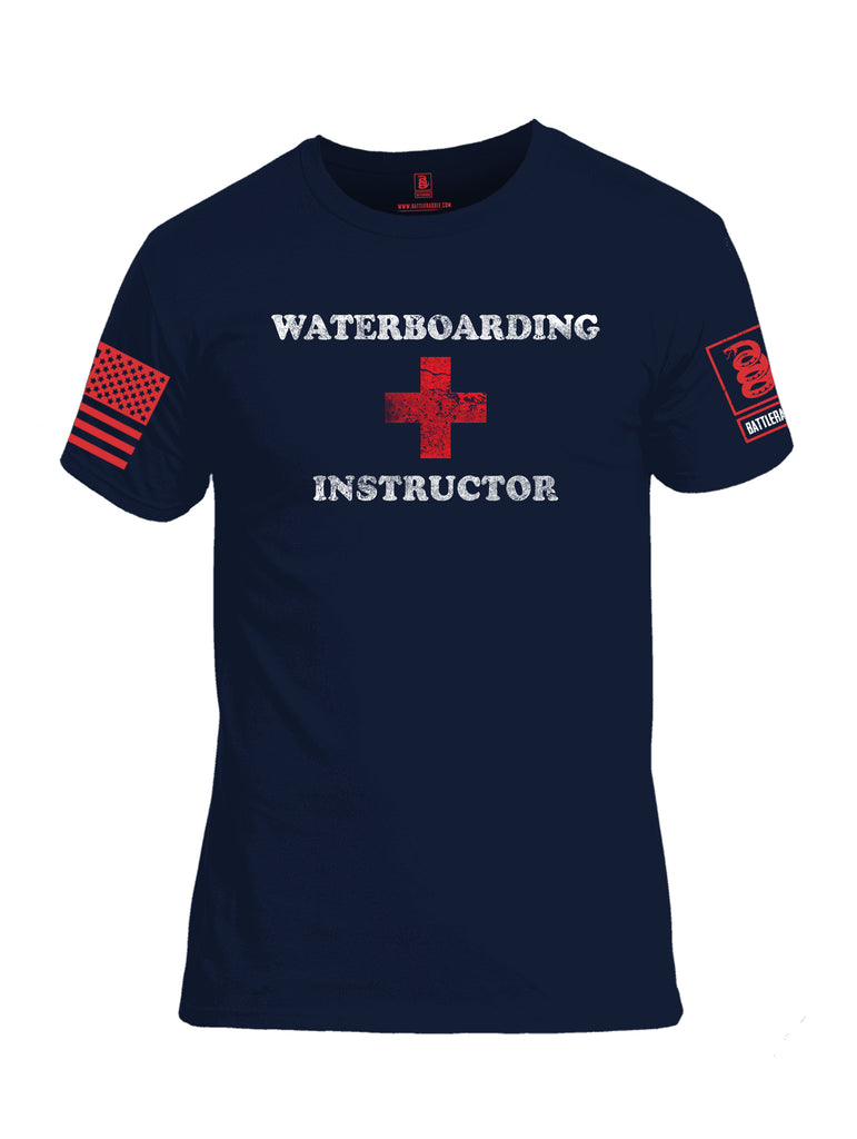 Battleraddle Waterboarding Instructor Red Sleeve Print Mens Cotton Crew Neck T Shirt-Navy Blue