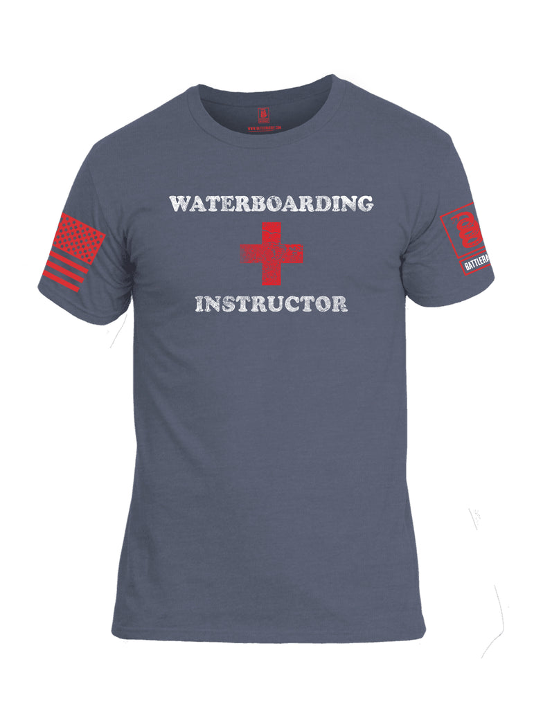 Battleraddle Waterboarding Instructor Red Sleeve Print Mens Cotton Crew Neck T Shirt-Navy Working Uniform Blue