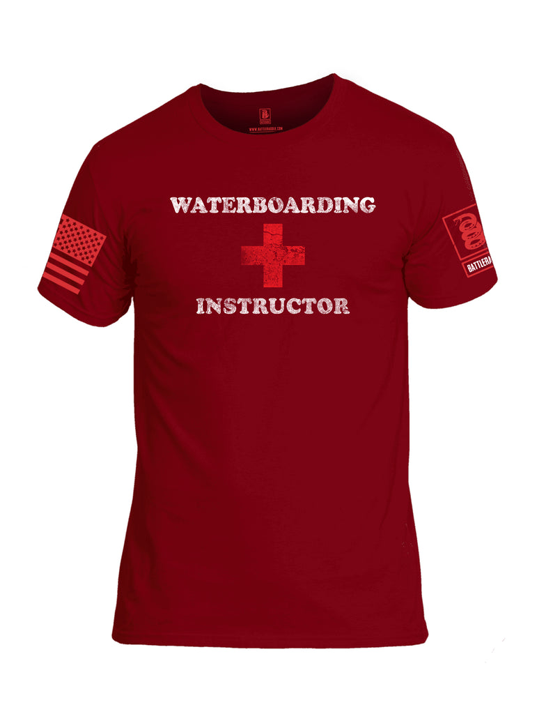 Battleraddle Waterboarding Instructor Red Sleeve Print Mens Cotton Crew Neck T Shirt-Red