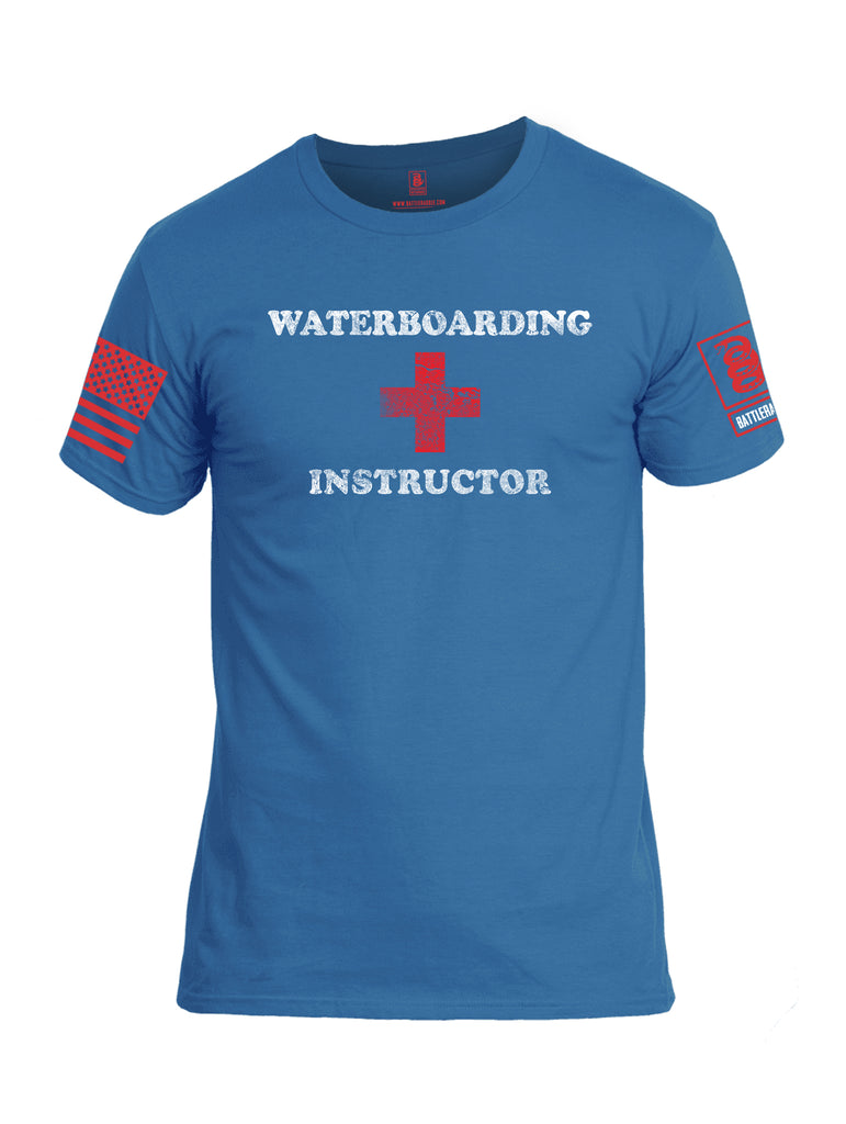 Battleraddle Waterboarding Instructor Red Sleeve Print Mens Cotton Crew Neck T Shirt-Royal Blue