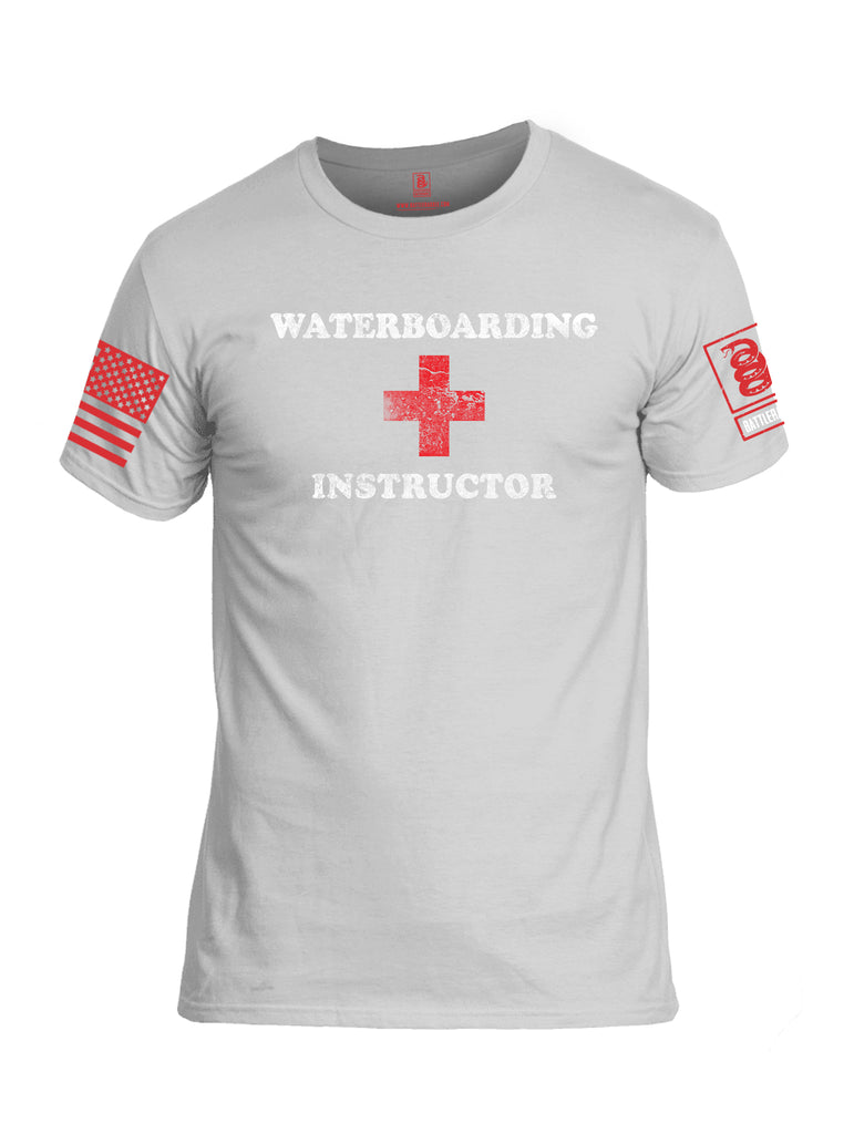 Battleraddle Waterboarding Instructor Red Sleeve Print Mens Cotton Crew Neck T Shirt-White