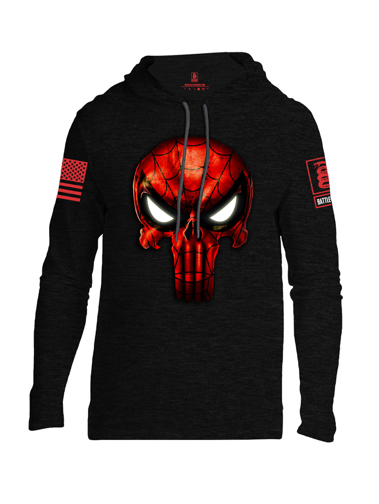 Battleraddle Webman Mr. Expounder Skull Red Sleeve Print Mens Thin Cotton Lightweight Hoodie