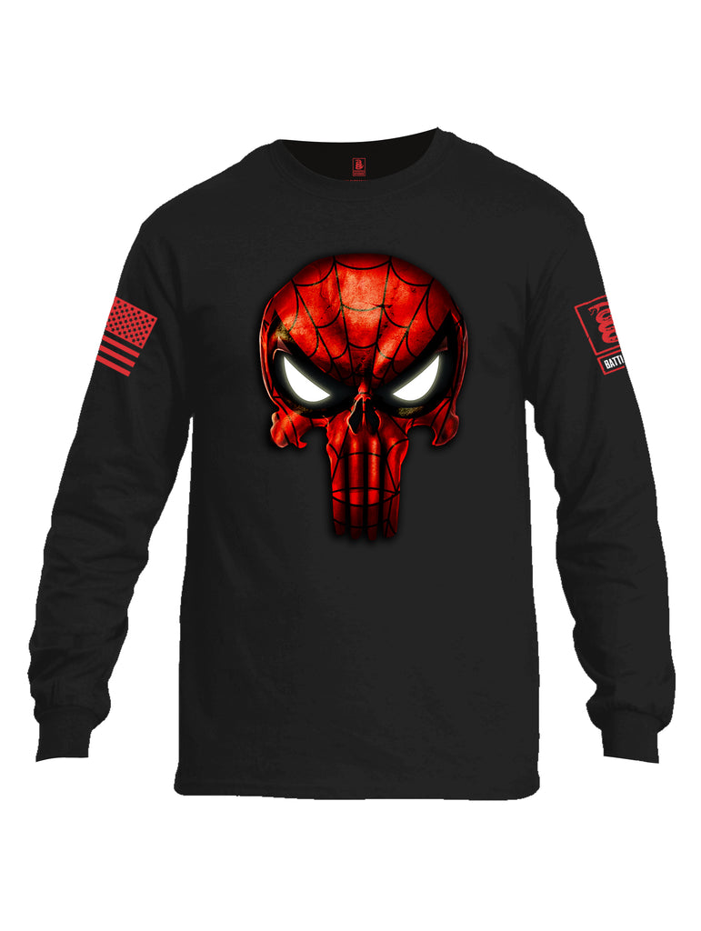 Battleraddle Webman Mr. Expounder Skull Red Sleeve Print Mens Cotton Long Sleeve Crew Neck T Shirt