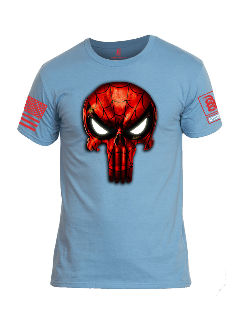 Battleraddle Webman Mr. Expounder Skull Red Sleeve Print Mens Cotton Crew Neck T Shirt