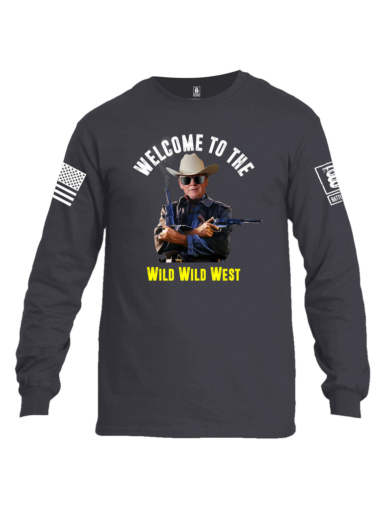Battleraddle Welcome To The Wild Wild West White Sleeve Print Mens Cotton Long Sleeve Crew Neck T Shirt