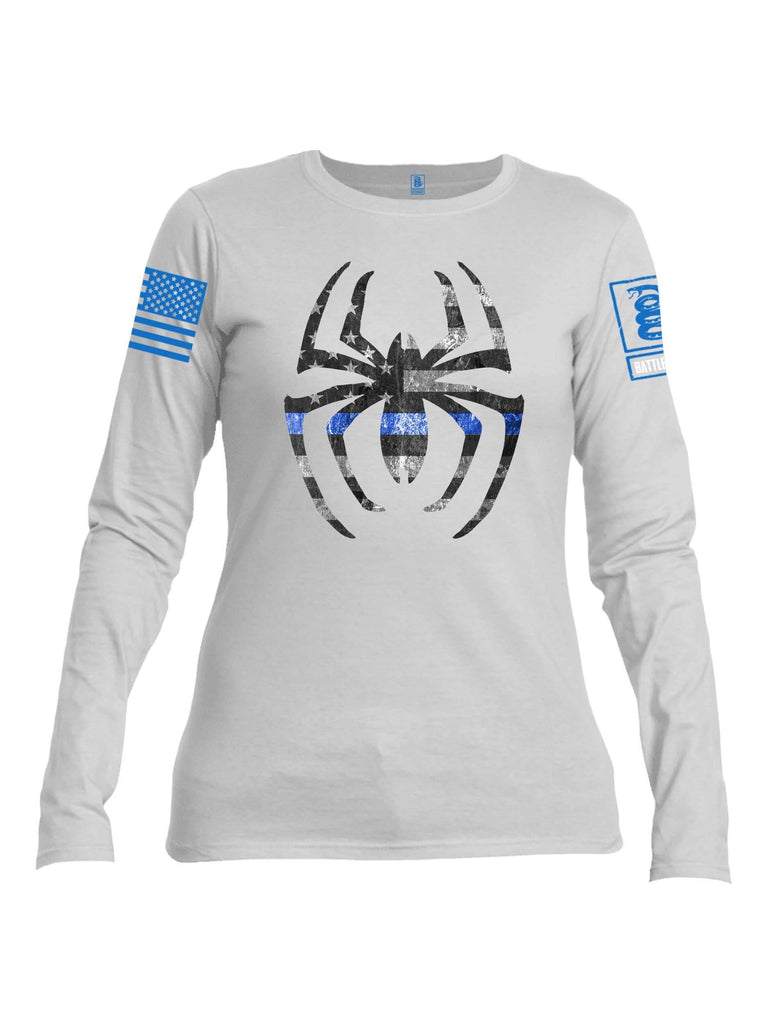 Battleraddle Webman Blue Line Blue Sleeve Print Womens Cotton Long Sleeve Crew Neck T Shirt