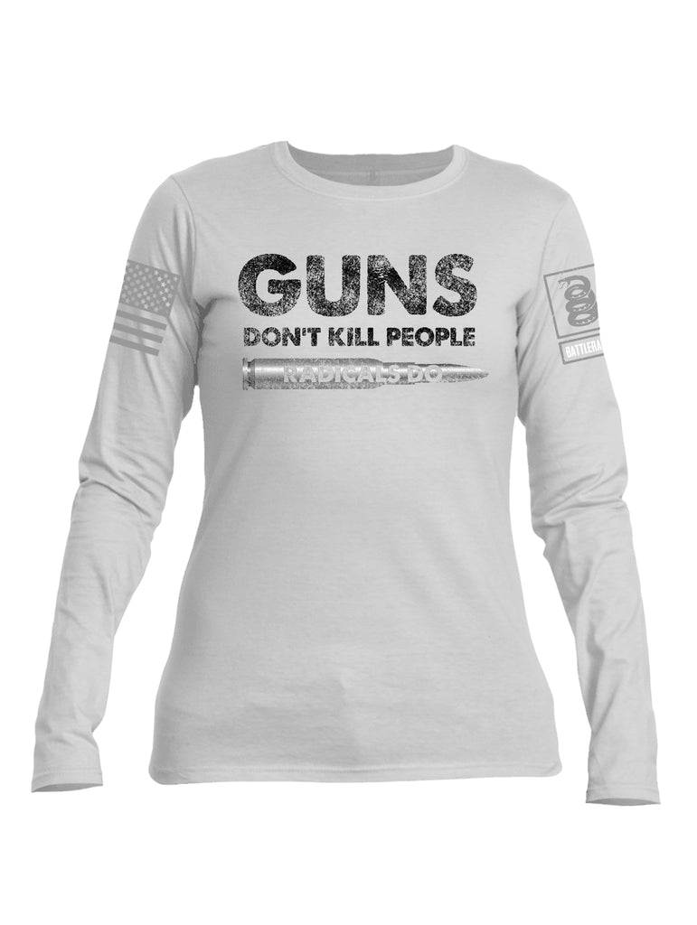Battleraddle Guns Dont Kill People Radicals Do Red Sleeve Print Womens Cotton Long Sleeve Crew Neck T Shirt