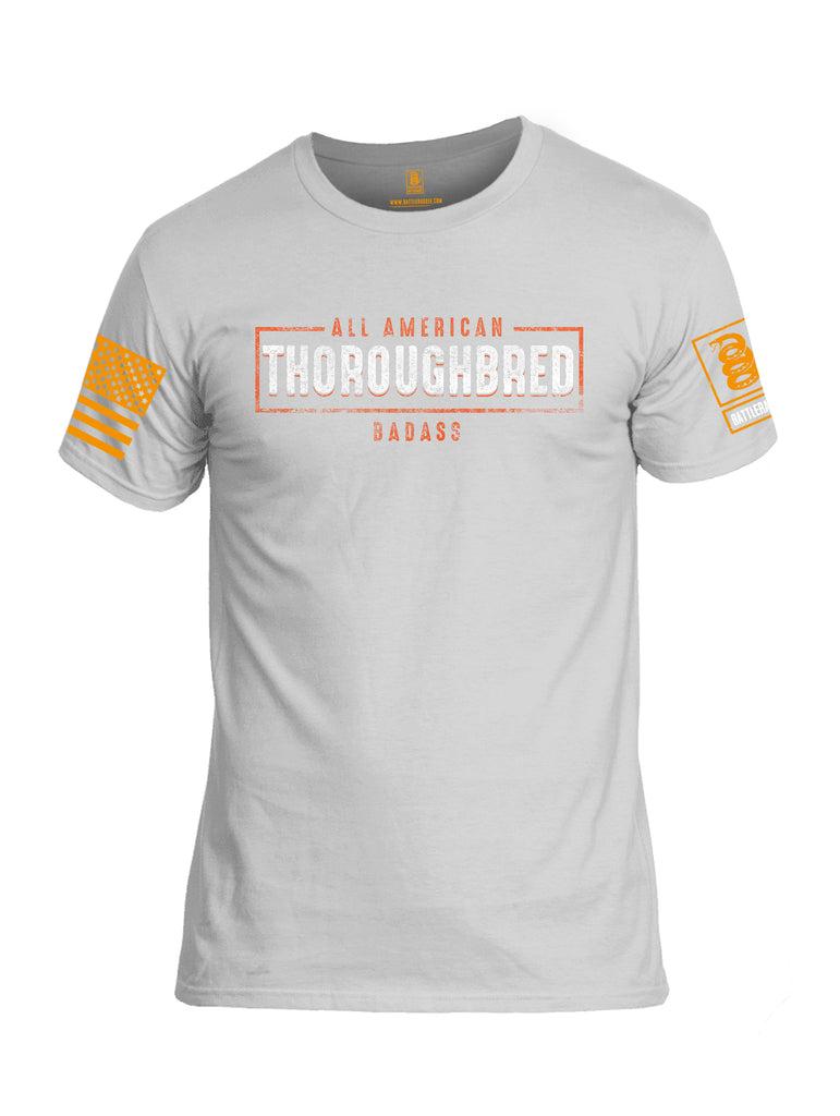 Battleraddle All American Thoroughbred Badass Orange Sleeve Print Mens Cotton Crew Neck T Shirt