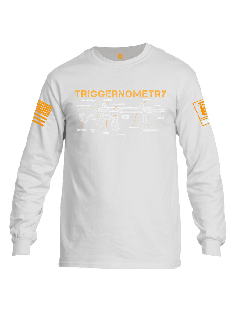 Battleraddle Triggernometry Orange Sleeve Print Mens Cotton Long Sleeve Crew Neck T Shirt