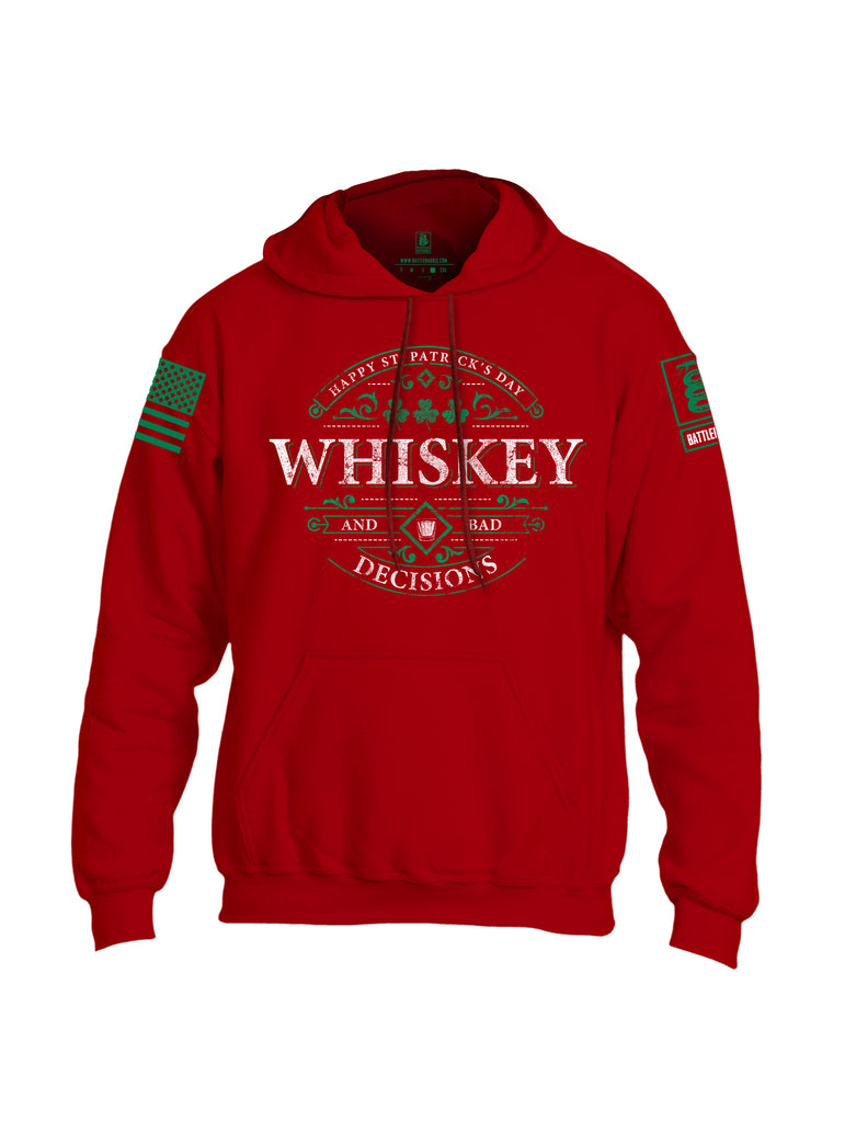 Battleraddle Happy ST. Patrick's Day Whiskey And Bad Decisions Green Sleeve Print Mens Blended Hoodie With Pockets