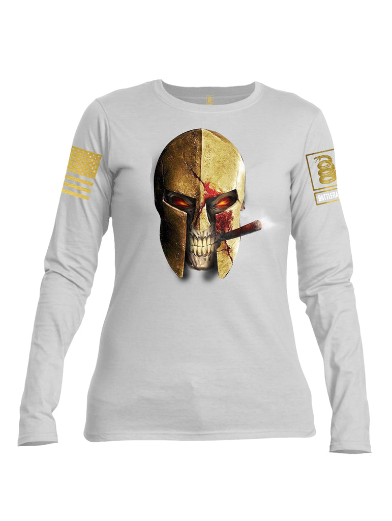 Battleraddle Smoking Spartan Brass Skull Brass Sleeve Print Womens Cotton Long Sleeve Crew Neck T Shirt