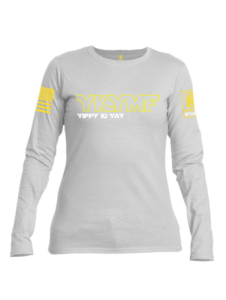 Battleraddle YKYMF Yippy Ki Yay Yellow Sleeve Print Womens Cotton Long Sleeve Crew Neck T Shirt