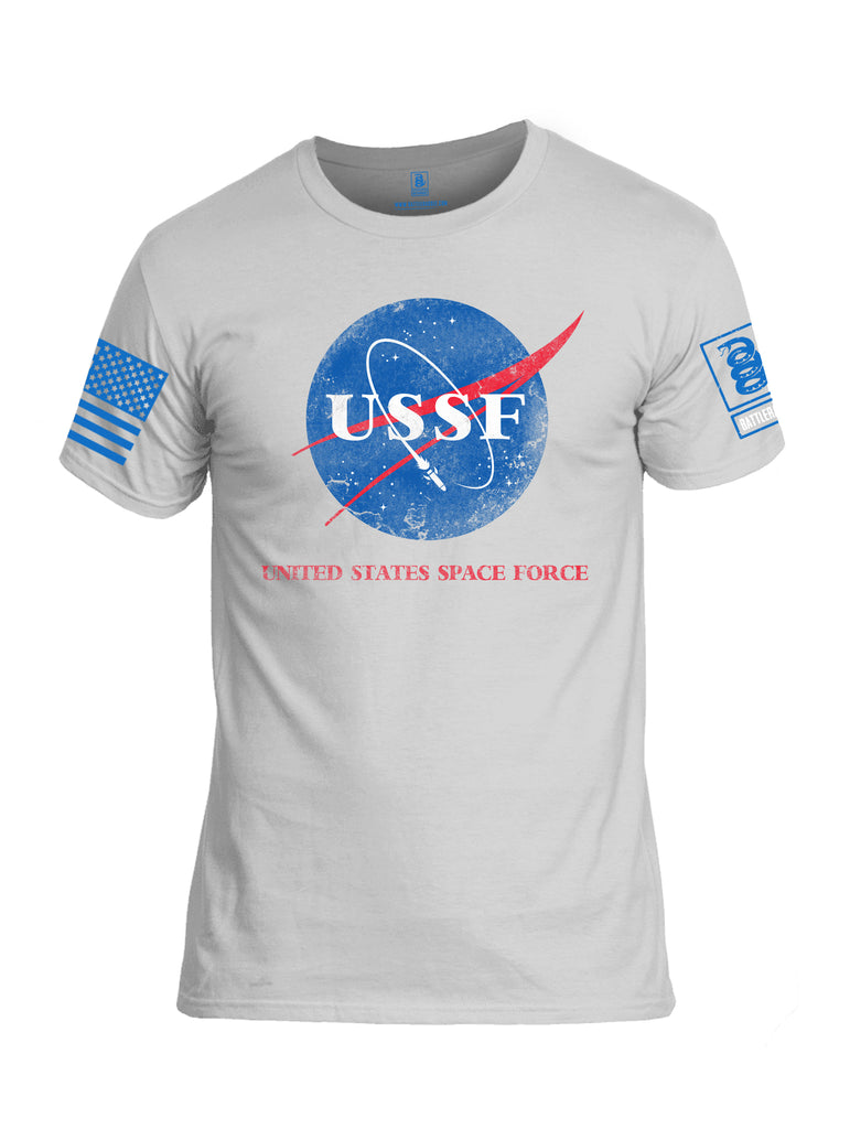 Battleraddle United States Space Force Blue Sleeve Print Mens Cotton Crew Neck T Shirt