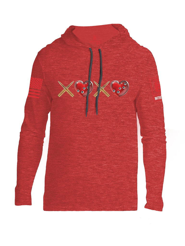 Battleraddle Hugs and Kisses Red Sleeve Print Mens Thin Cotton Lightweight Hoodie