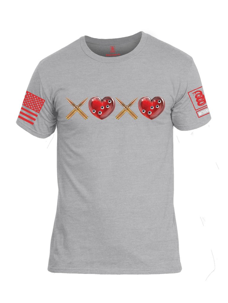 Battleraddle Hugs and Kisses Red Sleeve Print Mens Cotton Crew Neck T Shirt