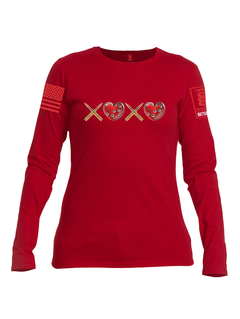 Battleraddle Hugs and Kisses Red Sleeve Print Womens Cotton Long Sleeve Crew Neck T Shirt