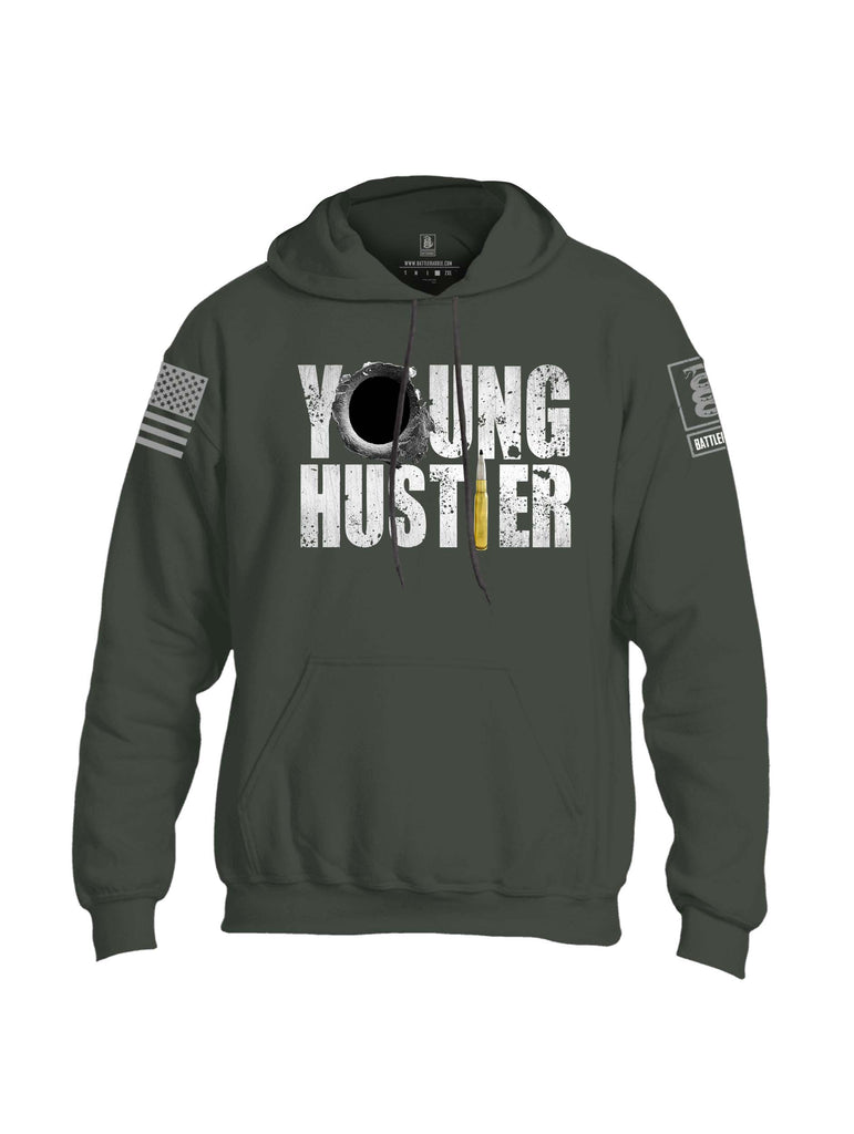 Battleraddle Young Hustler Grey Sleeve Print Mens Blended Hoodie With Pockets
