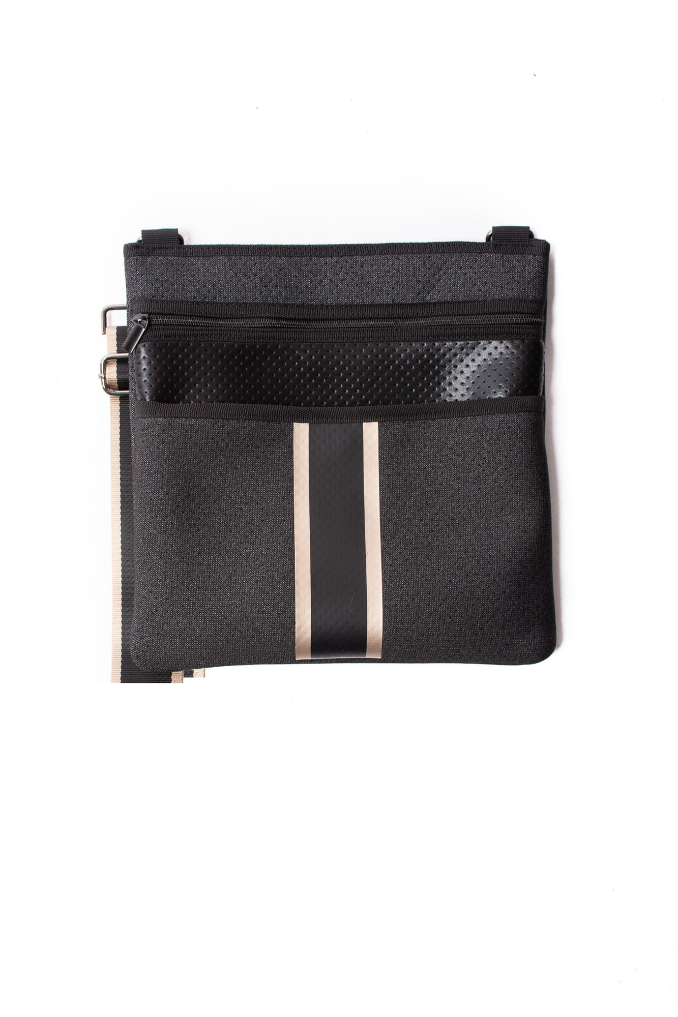 Haute Shore - Peyton Crossbody Grand (Peyton, Black Denim w/Platinum Stripe)