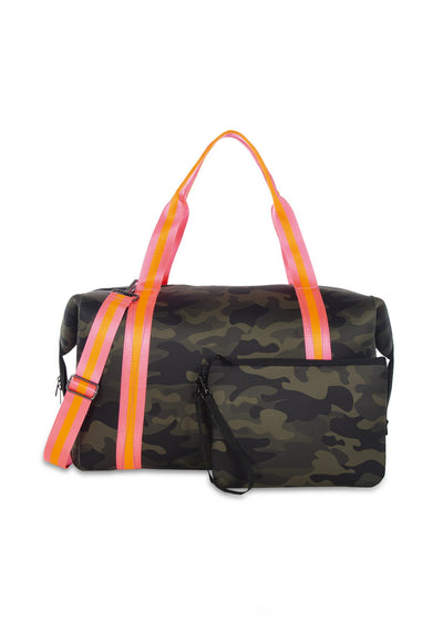 Haute Shore - Trip Weekender Bag (Morgan, Green Camo w/Orange & Pink Straps)