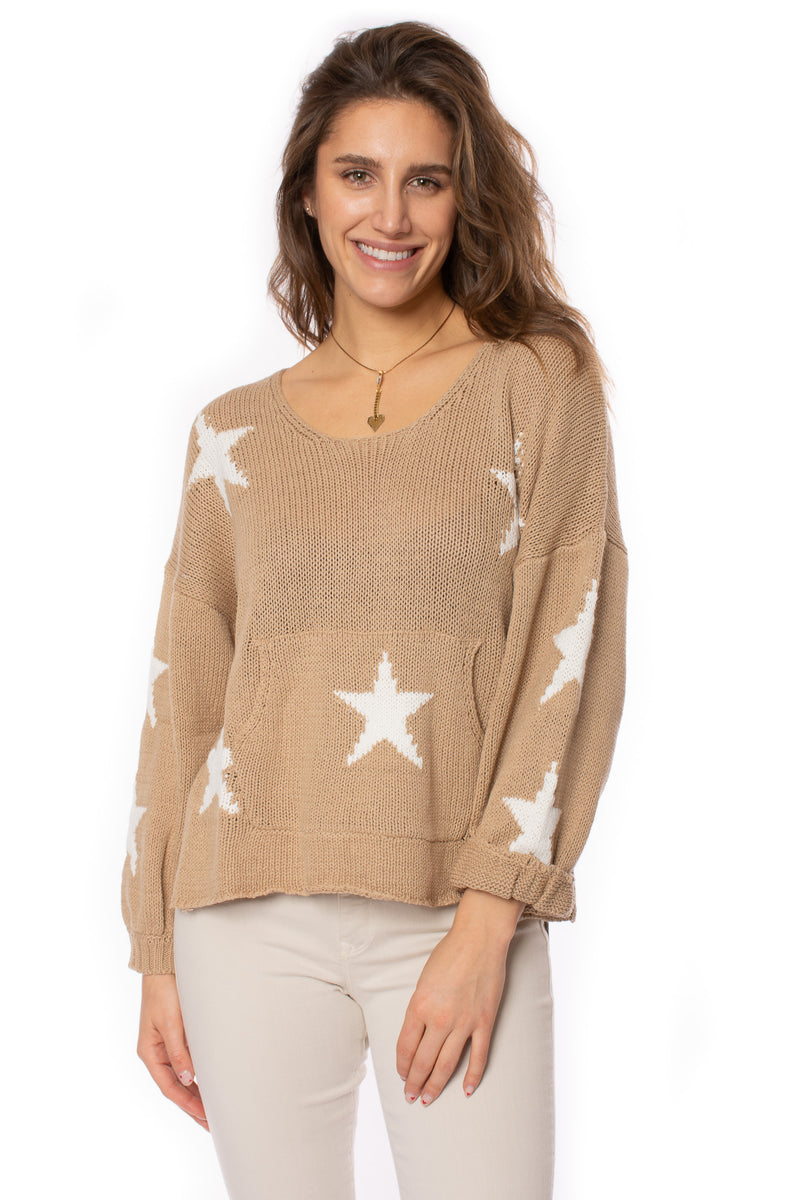 Vintage Havana - Star Puff Sleeve Sweater (CC9024, Tan)