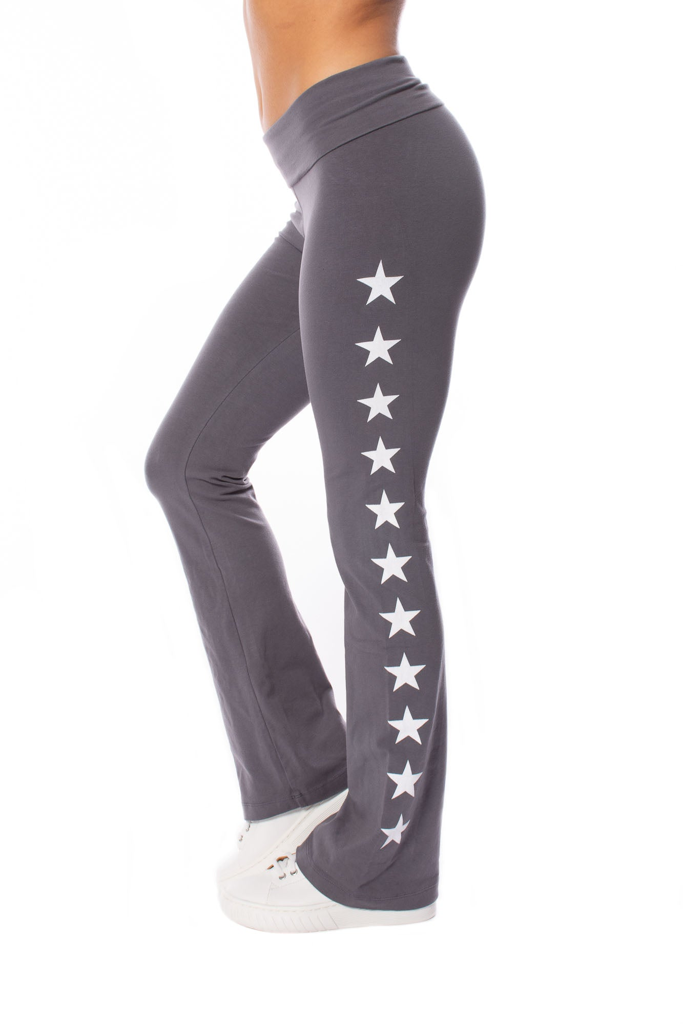 Hard Tail Forever - Roll Down Boot Leg Pants W/Stars (330, Earl Grey w/Stars)