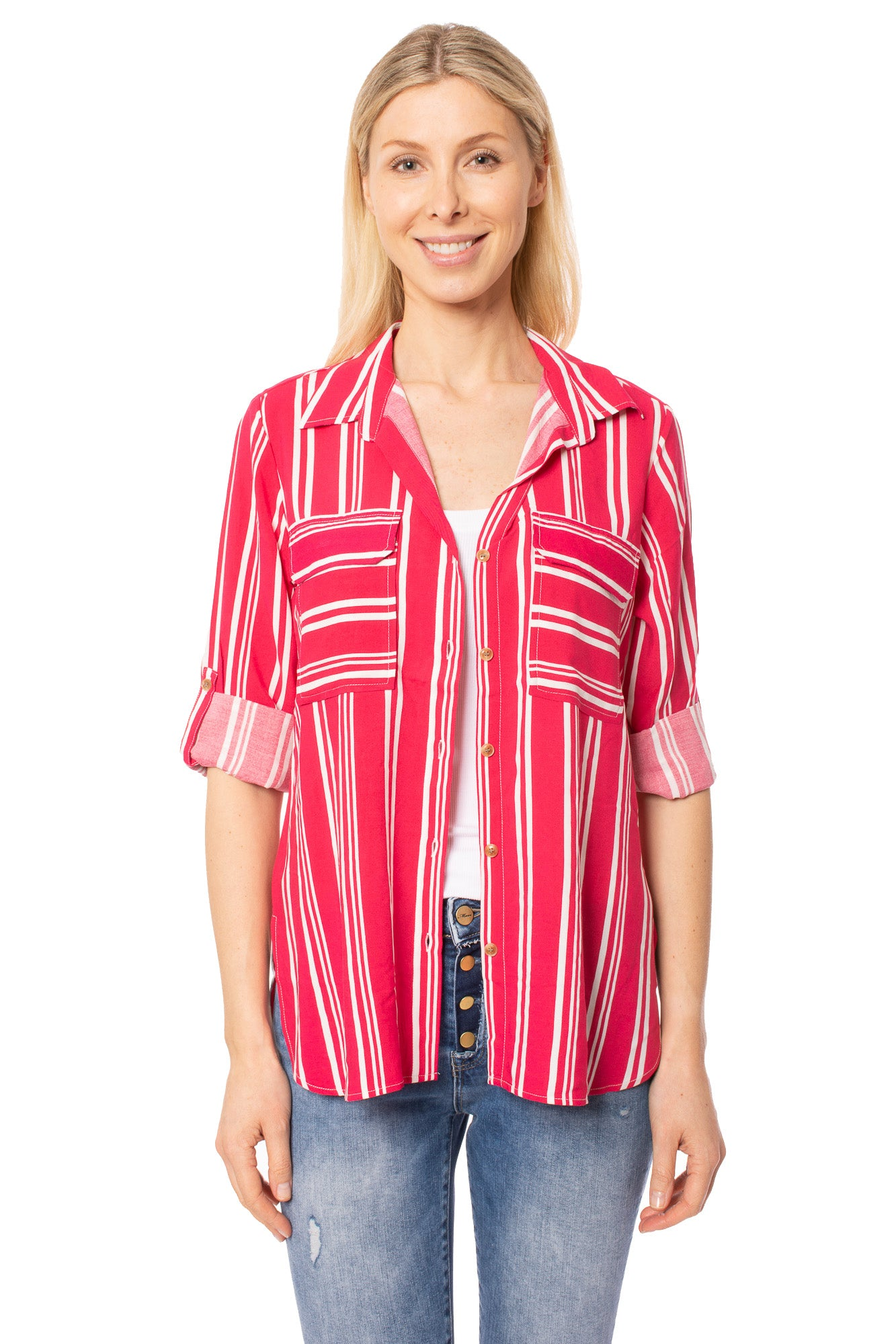Velvet Heart - Idena Shirt (3RN-22725, Red & White)