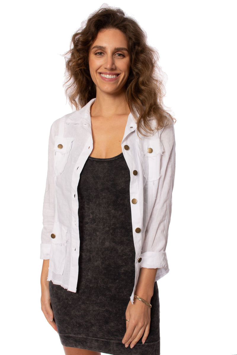 Wearables - Raw Edge Safari Jacket (13892W, White)
