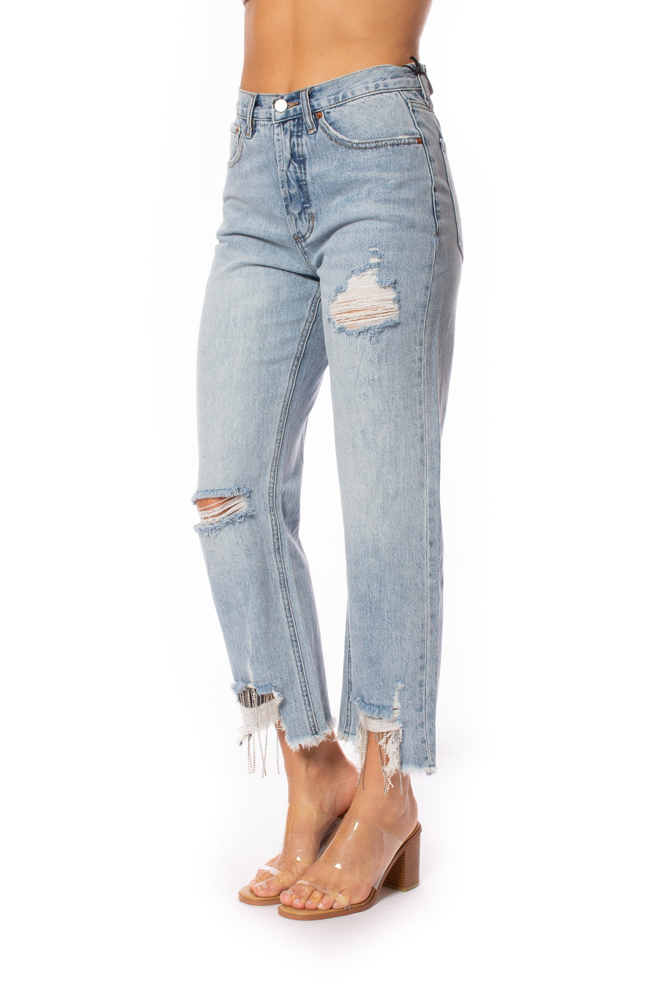 Blue Revival - Distressed Chain Crop Jeans (13082BRS20, Light Denim)