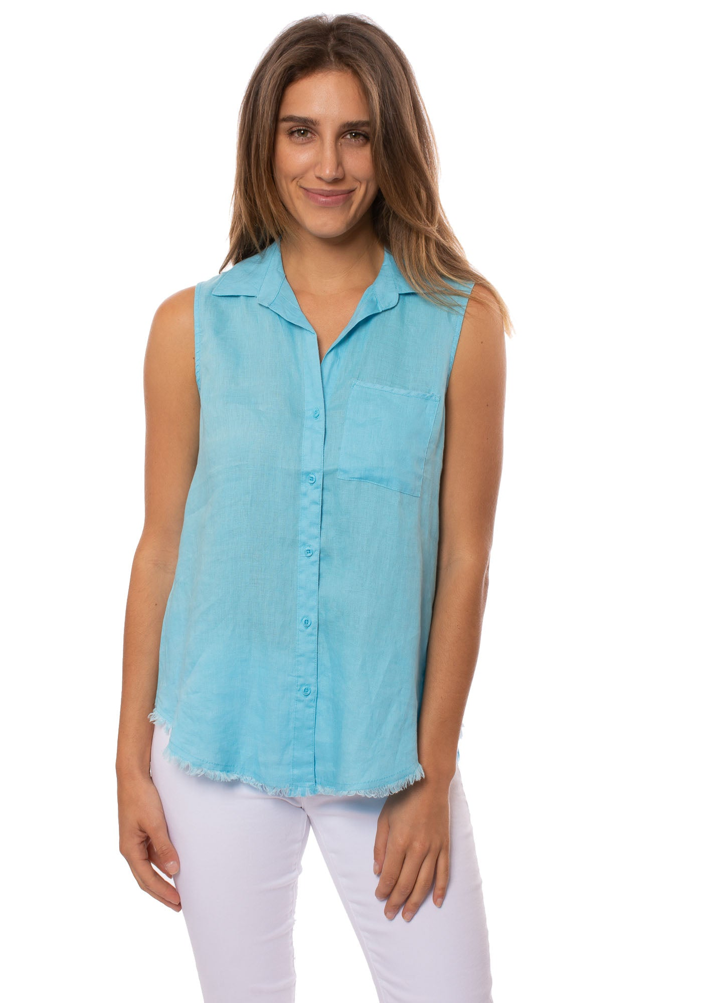 Velvet Heart - Raw Edge Button Up Ambrosia Tank (2JQ-22250F, Turquoise)