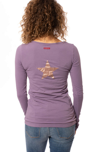 Hard Tail Forever - Supima/Lycra Long Sleeve Scoop Tee W/Star (SL-69-501B, Grapevine w//Rose Gold Star)