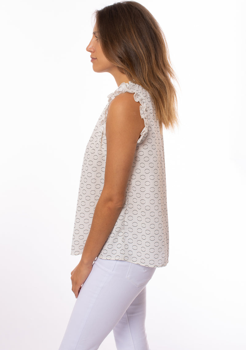 KLK Clothing Co. - S/L Circle Print Ruffle Blouse (KD43630, White)
