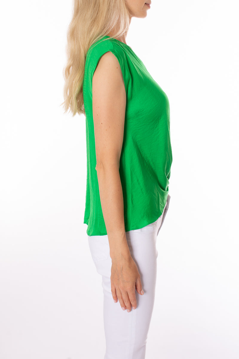KLK Clothing Co. - V Neck Satin Twist Blouse (KD43633, Green)