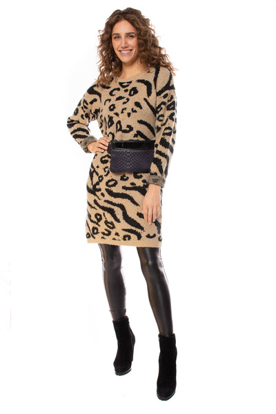 To The Loyal - Leopard Sweater Dress (tmk1171, Leopard)