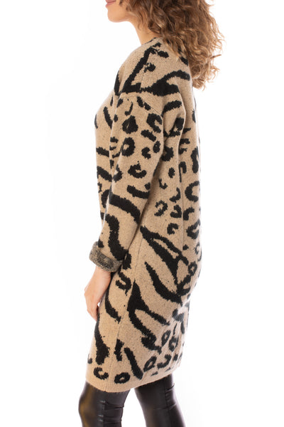 To The Loyal - Leopard Sweater Dress (tmk1171, Leopard) alt view 2
