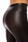 Spanx - Faux Leather Crocodile Shine Pants (20303R, Dark Brown Croc Skin) alt view 2