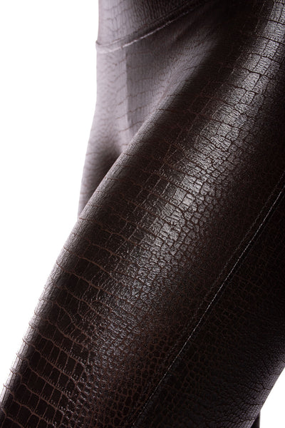 Spanx - Faux Leather Crocodile Shine Pants (20303R, Dark Brown Croc Skin) alt view 5